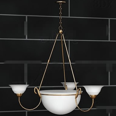 Gold side simple white chandelier