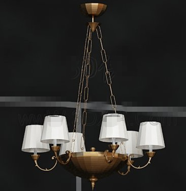 Golden tray white chandelier