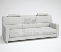Fashion light gray three seats fabric sofa