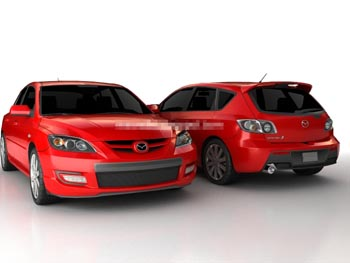 Red Mazda hatchback sedan