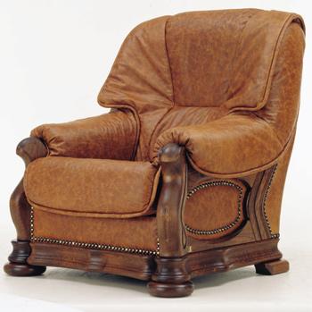 European retro dark leather single sofa
