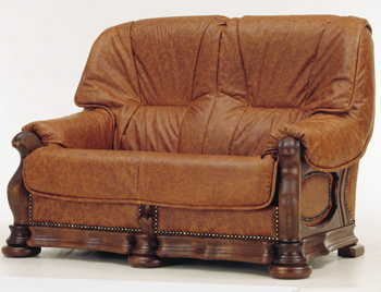 European retro dark leather sofa