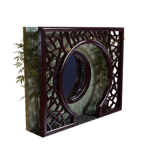 Mahogany round arches outdoor landscape model