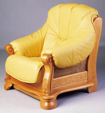 European-style wood base leather sofa