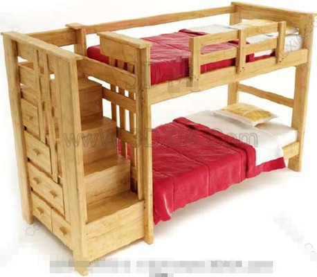 Link toRed timber double children bed
