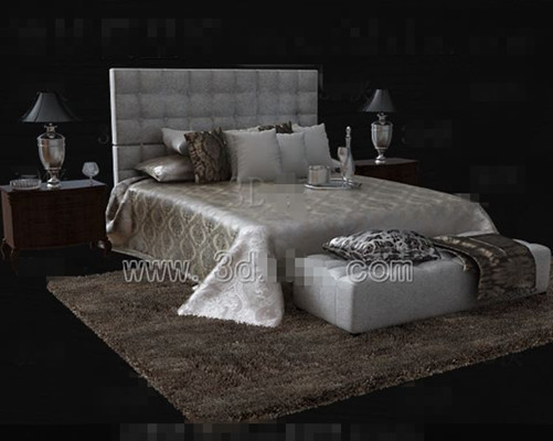 Silver brown luxury double bed download free vector 3d model icon - Ensemble matelas sommier 160x200 ...