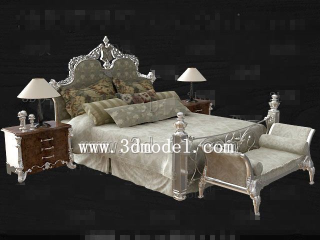 European style silver gray double bed