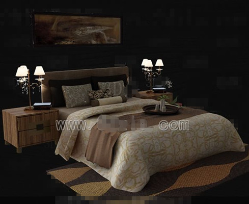Brown theme simple double bed