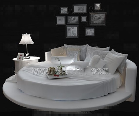 Link toWhite fashion personality round double bed