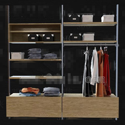 Metal stents wood drawers wardrobe