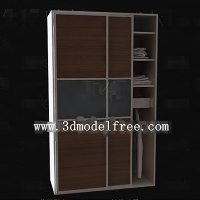 Brown simple two-door wardrobe