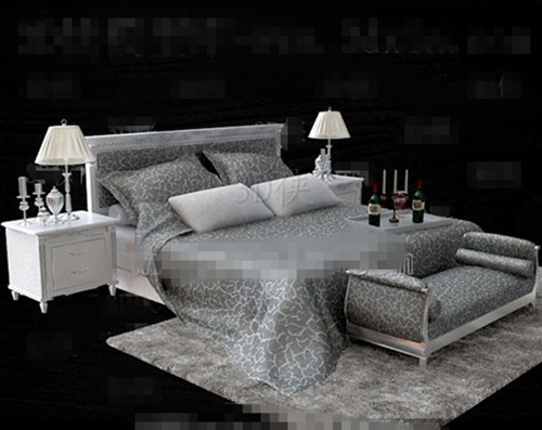Silver European minimalist double bed