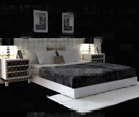 White exquisite luxury double bed