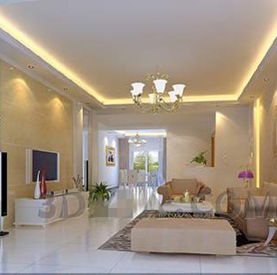Modern light yellow theme living room