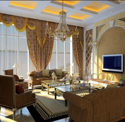 European-style golden theme living room