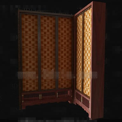 Brown screen-type wooden wardrobe