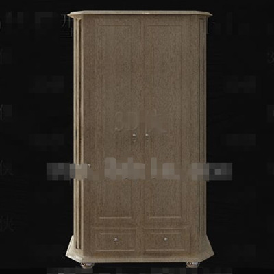 Simple wooden two-door wardrobe