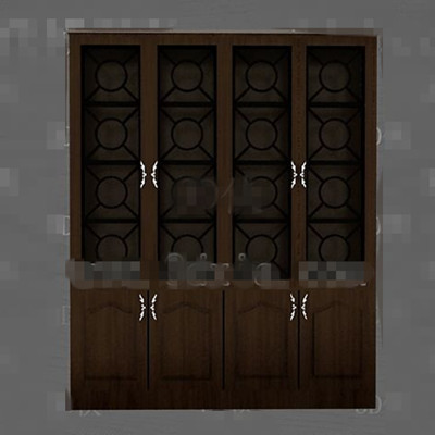 Brown simple wooden display cabinet