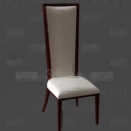 Long white cushion wooden chair