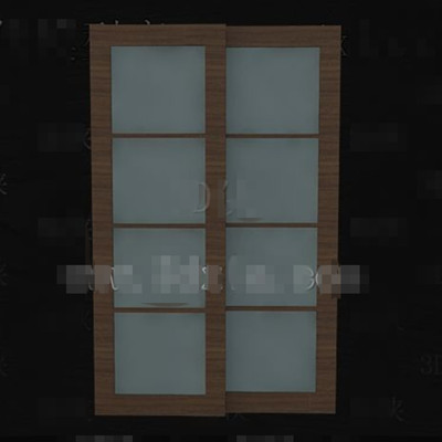 Wooden glass horizontal pull double doors