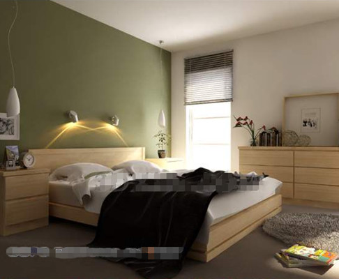 Simple green background wall bedroom