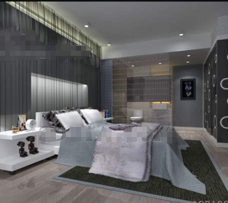 Modern minimalist silver-gray bedroom