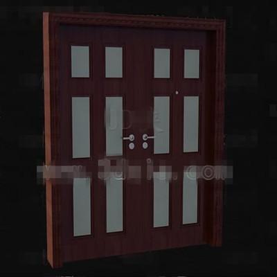 Link toReddish-brown wood metal handles door
