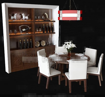 White wooden tables and chairs cabinet combination