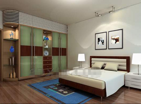 Green glass cabinets bedroom