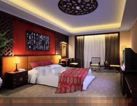 Chinese style screen background wall bedroom