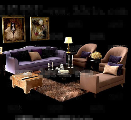 Purple and brown comfortable sofas combination