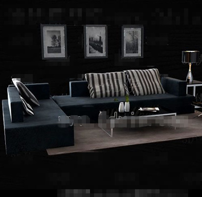 Dark blue fabric sofa combination