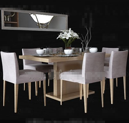 Link toWhite wooden simple dining table