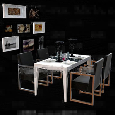 Black metal frame dining table combination