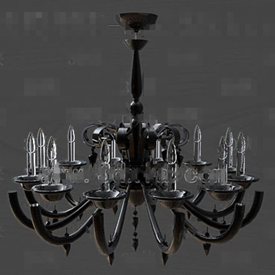 Black metal frame crystal chandelier