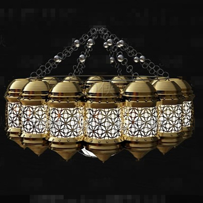 Golden white hollow combination chandelier