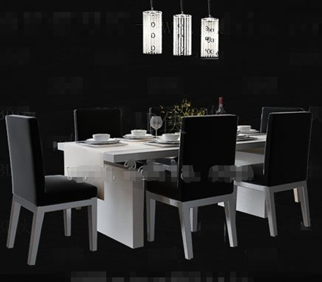 Simple black and white dining table