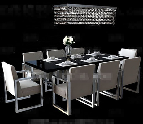 Link toLong black dining table combination