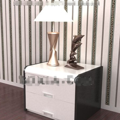 White and black bedside cabinet