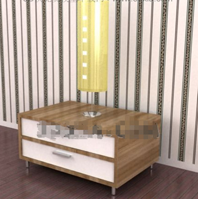 Double white drawers bedside cabinet