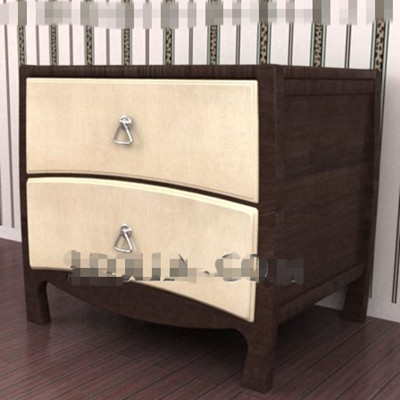 Yellow double-layer drawers bedside cabinet