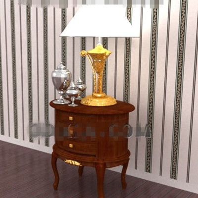 Red-brown oval bedside table