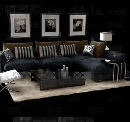 Link toGray and black fabric sofa combination