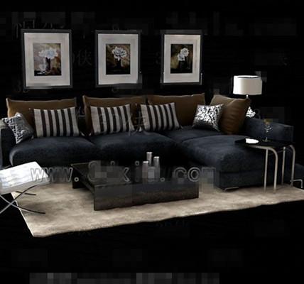 Gray and black fabric sofa combination