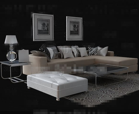 Beige leather Sofa Tea table combination