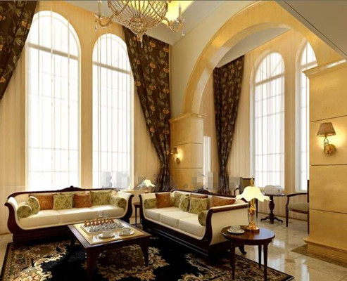 Pale yellow European-style living room