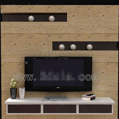 Brown and white fashion TV wall