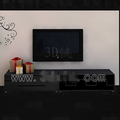 Black long-shaped television cabinet