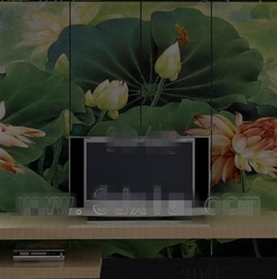 Link toChinese lotus pond screen tv wall