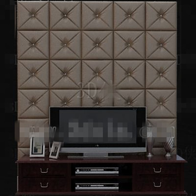 Modern brown leather TV wall